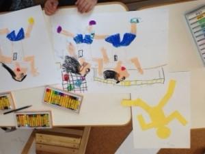 月1アートクラス「走っている人」 動きのある絵を描こう!ということで運動会の絵を描きました。自分の体を動かしながら確認しました。