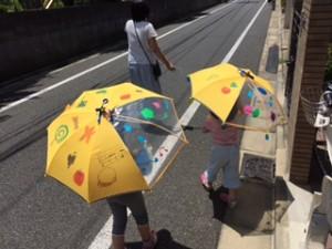 月1回アート 「私の傘」 鈴を付けたので歩くたびに音が鳴ります。